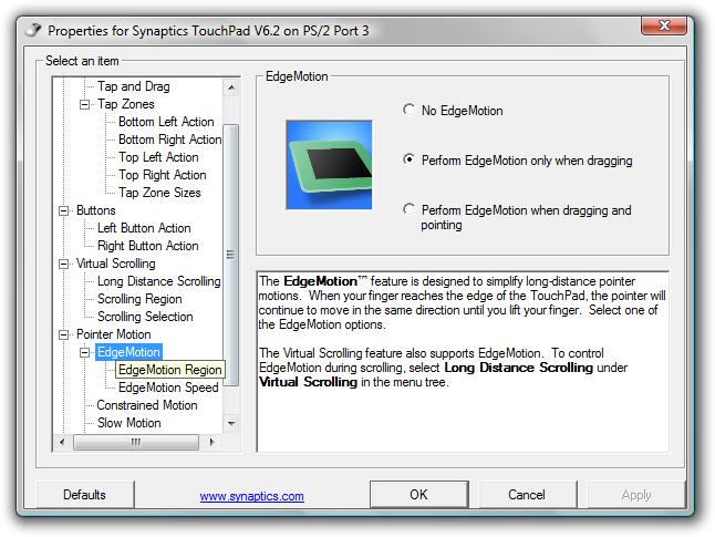 automatizované skrolování při dosažení okraje touchpadu