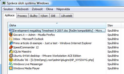 spuštěné aplikace na Windows Vista x64