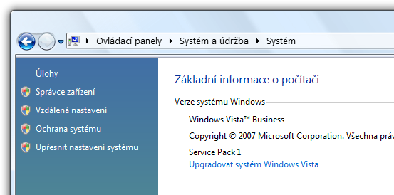 instalovaný Service Pack 1 na Windows Vista