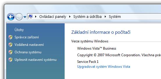 instalovaný Service Pack 1 na Windows Vista