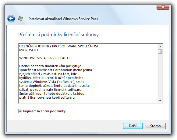 instalace Vista SP1