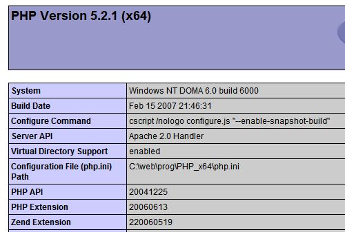 Apache 2.2.4 x64, PHP 5.2.1 x64 a MySQL 5.0.37 x64