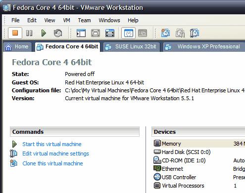 VMware hlavní obrazovka