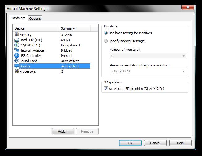VMWare Workstation 6 5 - akcelerace DirectX 9 0c a Unity