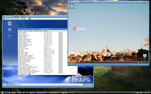 VMWare - pohled na dva virtuální stroje pod Vista x64