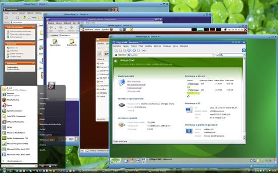 VMware Workstation a 5 spuštěných OS v reálném čase