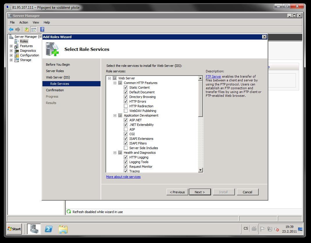 IIS7.5 instalace