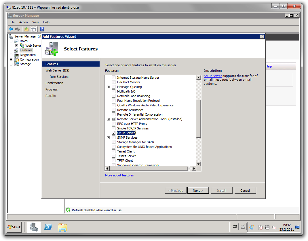 SMTP instalace