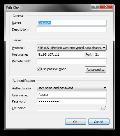 FTPS připojení