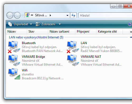 network devices ve Vista