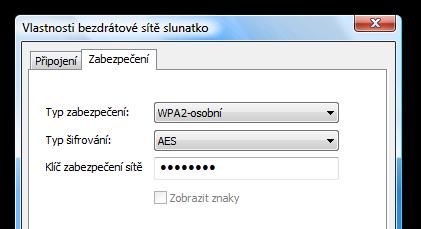 Wifi nastavení na Vista