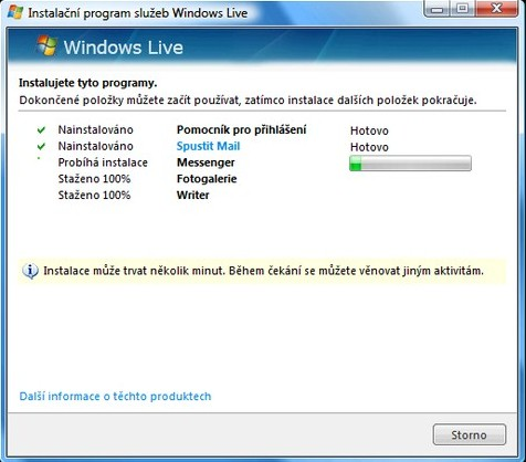 instalace Windows Live aplikací