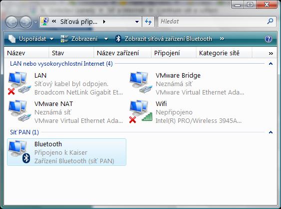 síťové připojení z Vista na Windows Mobile