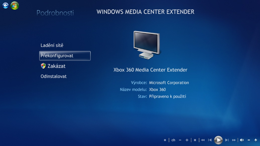 Windows Media Center Extender v akci