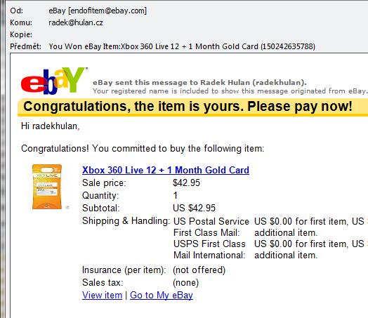 XBox Gold Account nakoupeno přes eBay za $42.95 na 13 měsíců