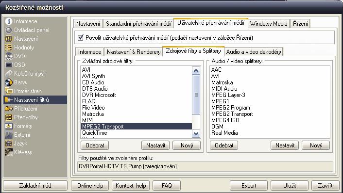 Nastavení filtrů - source